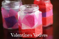 VALENTINES VOTIVE CANDLE HOLDERS for kids to make!  Fun art process with tissue paper and small jars.  Kids of all ages will enjoy this one, and they look so pretty all aglow! = Happy Hooligans
