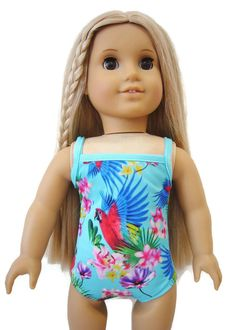 """Hibiscus Flowers Swimsuit Bathing Suit for 18"""" American Girl Doll Clothes #DollClothesSewBeautiful"""