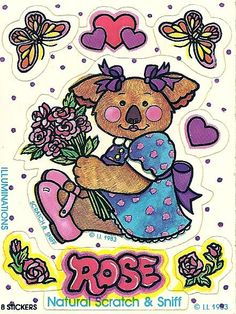 American greetings inc boomerang bear vintage stickers pinterest vintage illuminations koala bear rose scratch and sniff sticker m4hsunfo