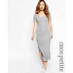 ASOS PETITE Maxi Dress In Rib With Button Front (£20) ❤ liked on Polyvore featuring dresses, grey, grey maxi dress, petite dresses, gray maxi dress, grey dress and jersey dress