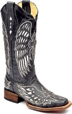A1019 Womens Distressed Black/White Angel Wing and Cross Square Toe Boot