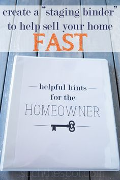 Create a staging binder with helpful hints for potential new homeowners and make - Home Selling - Home Selling Tips - - Create a staging binder with helpful hints for potential new homeowners and make your home even more memorable! Real Estate Staging, Selling Real Estate, Real Estate Tips, Sell Your House Fast, Selling Your House, Sell Home Fast, Moving Day, Moving Tips, Real Estate Business