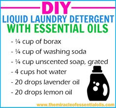 Try this easy yet effective recipe for homemade liquid laundry detergent with essential oils!