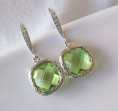 Peridot EarringsGreen Bridesmaids by Uniquebeadables on Etsy, $18.99