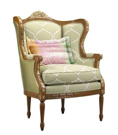 U-3076-0331-VOU Emanuelle Chair in SE-FHG-921 Arabesque Palace Hemp and SE-FHG-924 Va Va Voom 316 Sage, with SE-FHN-951 Damask Fantasia P392 pillow available at French Heritage.