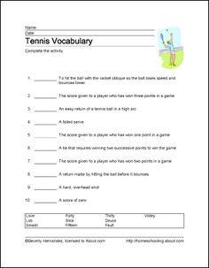 Tennis Printables: Tennis Vocabulary