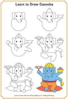Learn to draw the elephant-headed Hindu god, Ganesha, with our step by step drawing tutorial! Ganesha is worshipped at the Diwali Festival of Lights. He is the god of education, wisdom and success. He is often used on Diwali cards.