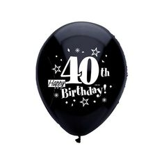 Happy 40th Birthday Black Latex Balloons 8ct