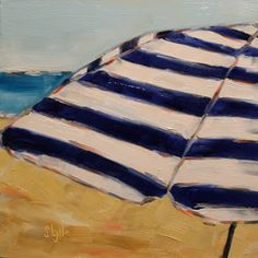 "Sarah B. Lytle Original Oils -""Blue Striped Umbrella"" - 8""x8"" oil on panel - available"