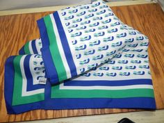 """""""Diolen"""" Made in Europe 100 % Polyester Ladies Scarf, 26 in. Square Green / Blue #Diolen #Scarf"""