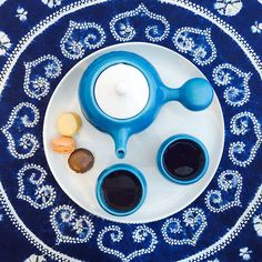 """What if the blue I see is not the same color blue you see?"" ~ Neo Shamon #blue #color #colorquote #bulbteaset #maiamingdesigns #aqua #asianstyle #teacups #teapot #ceramic #earthenware"