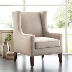 Bring elegant style to your living room or master suite with this lovely wingback chair, perfect paired with a side table and floor lamp to make a cozy reading nook.