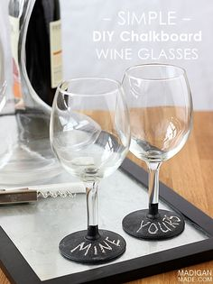 Great tip... Can you use chalkboard paint on wine glasses? Yes and it is washable!