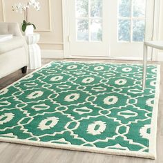 Safavieh Handmade Moroccan Chatham Geometric-pattern Teal/ Ivory Wool... ($379) ❤ liked on Polyvore featuring home, rugs, green, ivory rugs, beige rugs, wool rugs, geometric rug and teal rug
