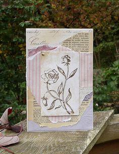 lavender and roses: paper collage pink thistle and plum