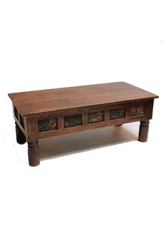 Wooden coffee table made from Sheesham Rosewood, with antique printing blocks that are artfully embedded on the sides of the table. Desert Design, Custom Made Furniture, Restaurant, Traditional, Coffee, Table, Home Decor, Kaffee, Decoration Home