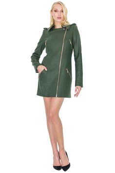 c3b7e81ef20c Long green biket jacket by Stefanie Renoma. Manteau façon perfecto long  Stefanie Renoma.