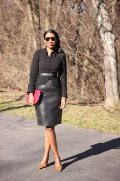 Leather skirt. Nice winter suit look.