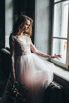 Sale / Tulle wedding gown // Orchidee /Blush wedding dress, lace bridal gown, long sleeve dress, winter wedding dress, A line bridal dress Lace Prom Gown, Tulle Wedding Gown, Tulle Ball Gown, Bridal Lace, Ball Dresses, Ball Gowns, Dress Lace, Lace Wedding, Blush Bridal