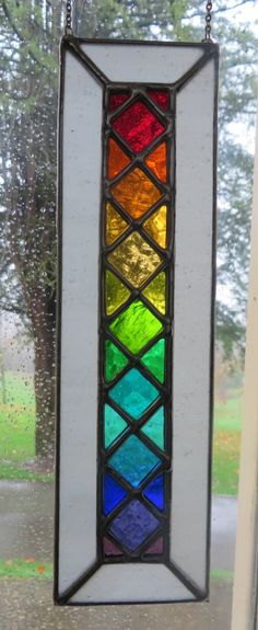 Rainbow Lattice Stunning Bright Stained Glass by pewtermoonsilver