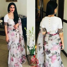 Floral saree with designer blouse Modern Indian Saree CLICK Visit link above for more options Classic Indian Sari Press VISIT link above for more options Saree Blouse Neck Designs, Simple Blouse Designs, Stylish Blouse Design, Saree Blouse Patterns, Designer Blouse Patterns, Indian Blouse Designs, Floral Print Sarees, Saree Floral, Organza Saree