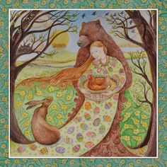 Spring Equinox - Circa 21st March - Spring Maiden brings eggs, symbol of fertility...held in the arms of sweet Mother Honey Paw... bringer of warmth... protector of new life. A time to feel the energy and start new ventures.