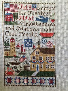 completed cross stitch Prairie Schooler July Indepandance day Summer