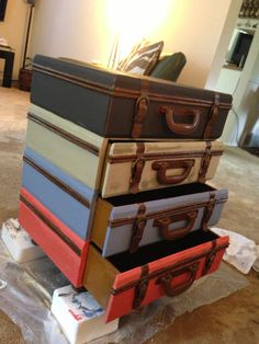 Luggage end table during chalk painting
