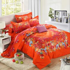 Orange and Red Chic Flower Garden Tribal Print Traditional Luxury Rustic Chic Romantic Warm Organic Full, Queen Size Bedding Sets