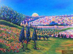 من الاعمال الحديثة ربيع القدس للفنان المبدع طالب دويك  artist Taleb Dweik