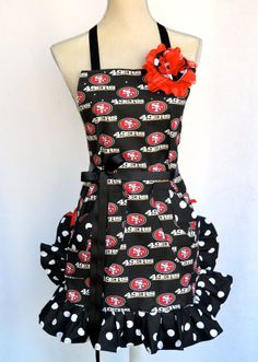 Womens Apron  49ers Print Apron Double Ruffled by OliviabyDesign