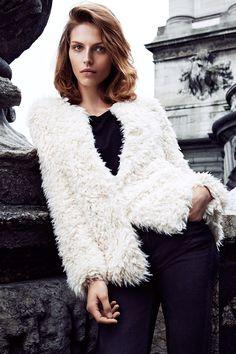 Soft white faux fur jacket. #WARMINHM