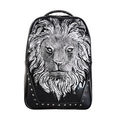 47.70$  Buy now - http://alis9d.worldwells.pw/go.php?t=32616493001 - 3D Tiger Animal Print Cartoon PU Leather Backpack Bookbag Men Trendy Casual Day pack Funny Kids School bags Teens 16''