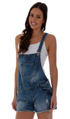cbfc2927197 Beach bum style dungaree shorts for that lived in look! Womens Denim ...