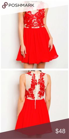 """Red Skater Dress Available in sizes small, medium & large.  Would be beautiful for Valentine's Day!  • Crochet Overlay • Zippered Back • Fully Lined • 100% Polyester   Model is wearing a size small. L: 34"""" B: 30"""" W: 26""""  *Model shown wearing the exact product.  If you have any questions, feel free to ask! 💕 Dresses Mini"""