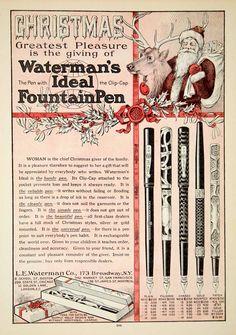 1907 Ad Waterman Ideal Fountain Pen Santa Claus Reindeer Christmas Present Gift