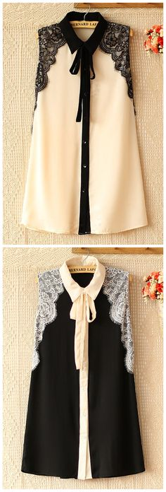 Lace Patch and Self-Tie Tunics - OASAP.com