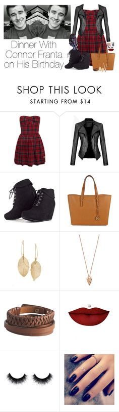 """""""Dinner with Connor Franta on his birthday"""" by miss-mendes-magcon ❤ liked on Polyvore featuring MARA, Michael Kors, Lulu*s, Pamela Love, Pieces, Anastasia Beverly Hills, Lottie and Bobbi Brown Cosmetics"""