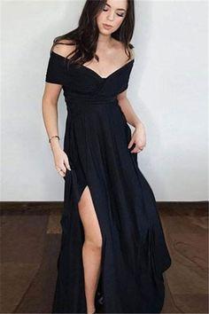 SIMPLE BLACK OFF SHOULDER PROM DRESS, BLACK LONG