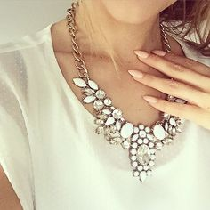 White and clear crystal statement necklace