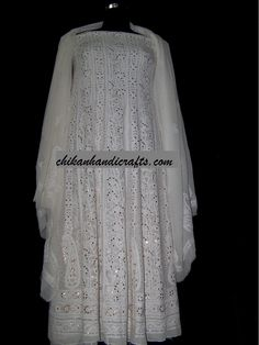 Chikankari Anarkali in Pure Georgette from Unique Chikan