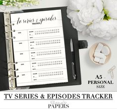 Printable TV SERIES and Episodes Tracker insert for your personal and A5 planner_Black & White style_Special offer!