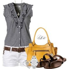 On the top, I like the V-neck, the ruffle; don't like the sleeveless, prefer more of a sleeve (the bag is cute too!)