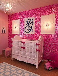 I love wallpaper...and pink and chandeliers! Would be perfect if it was red