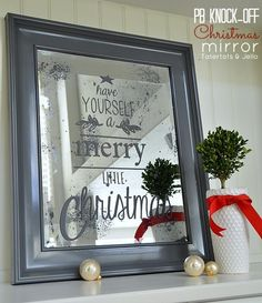 pottery barn inspired christmas mirror