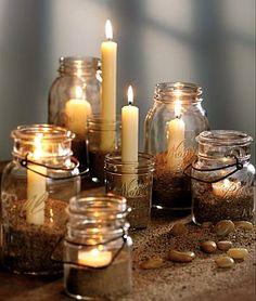 Fire...pretty!  You could use sand or epsom salts, buttons or seeds or beans...so many possibilities!  #Candles #Jars #DIY