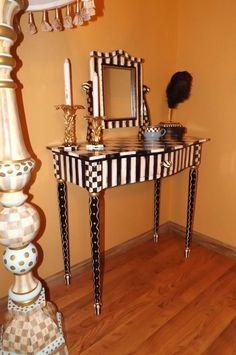 Hand Painted Mackenzie Childs Inspired Black & White Check Vanity & Mirror Whimsical Table Desk