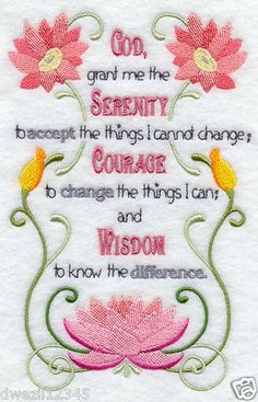 SERENITY PRAYER WITH FLOWERS - 1 EMBROIDERED LINEN KITCHEN HAND TOWEL by Susan