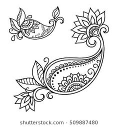 Zentangle Boho Flower Stock Vector (Royalty Free) 512193496 Set of Mehndi flower pattern for Henna drawing and tattoo. Decoration in ethnic oriental, Indian style. Mehndi Flower, Paisley Flower, Paisley Art, Dibujo Paisley, Paisley Drawing, Tatoo Henna, Henna Art, Henna Mehndi, Henna Patterns