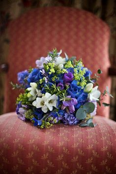 Blue Bridal Bouquets: Saturated Blue Hues